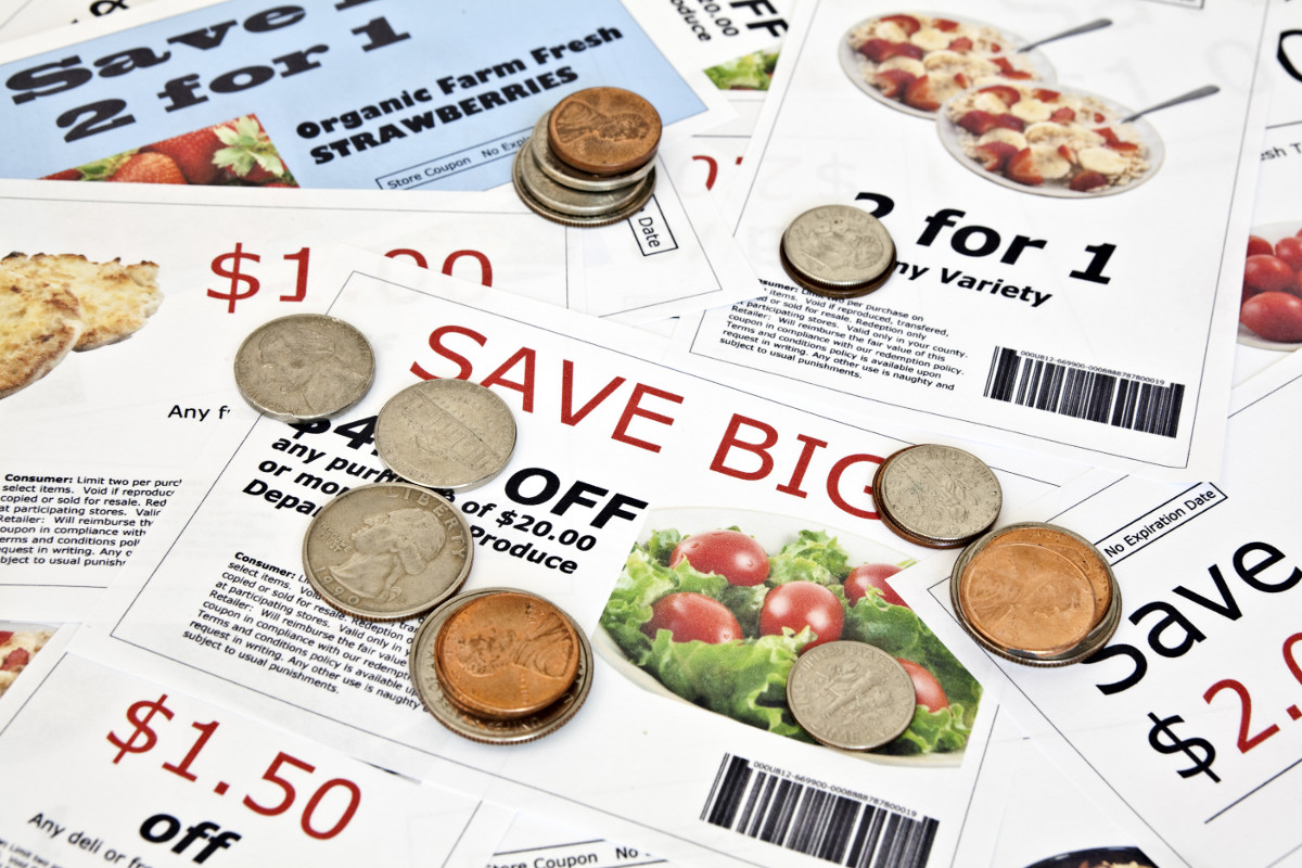 Use coupons to save on grocery store purchases.