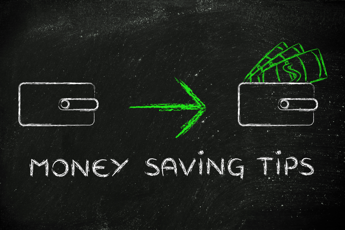 Chalk board showing money saving tips.