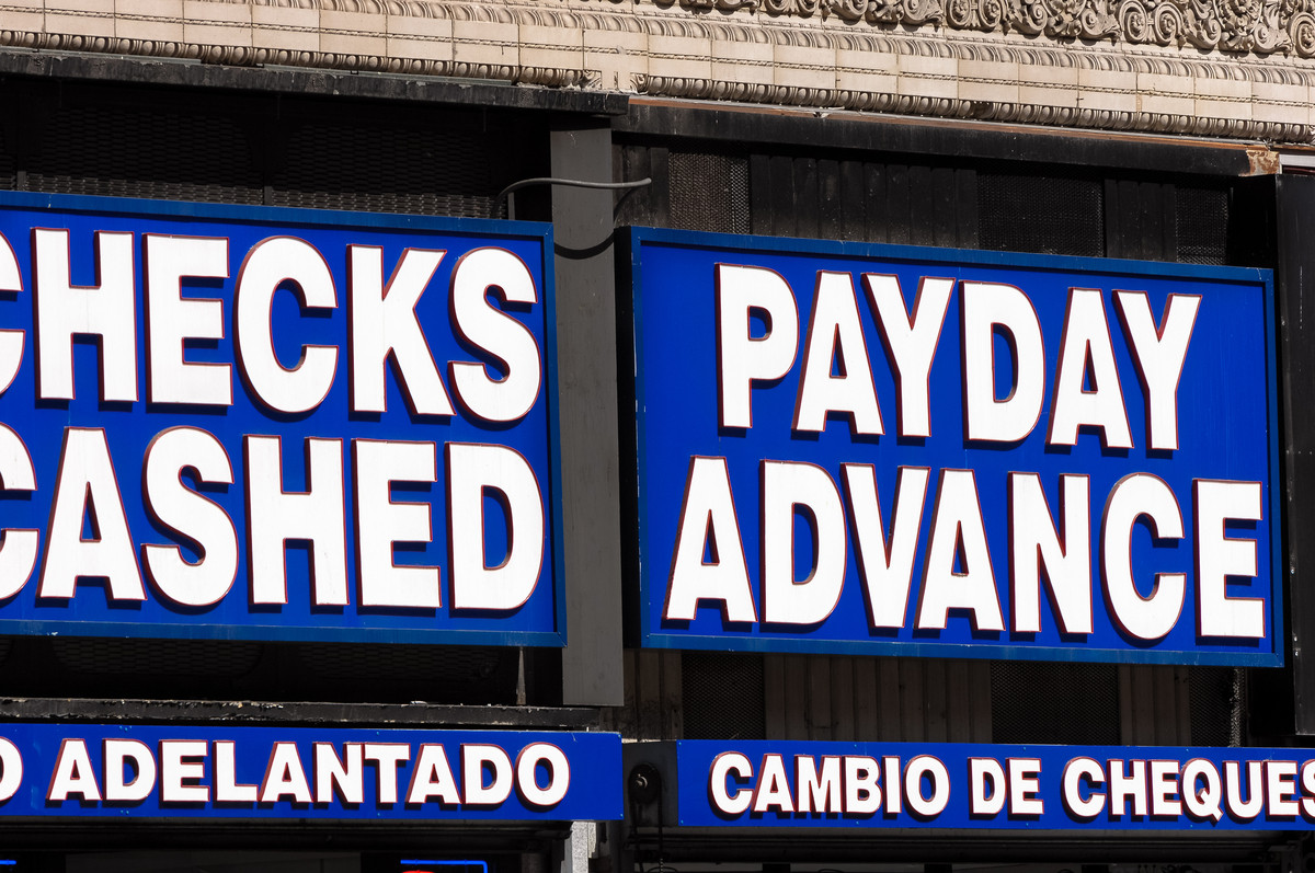 Brick-and-mortar payday lender storefront location.